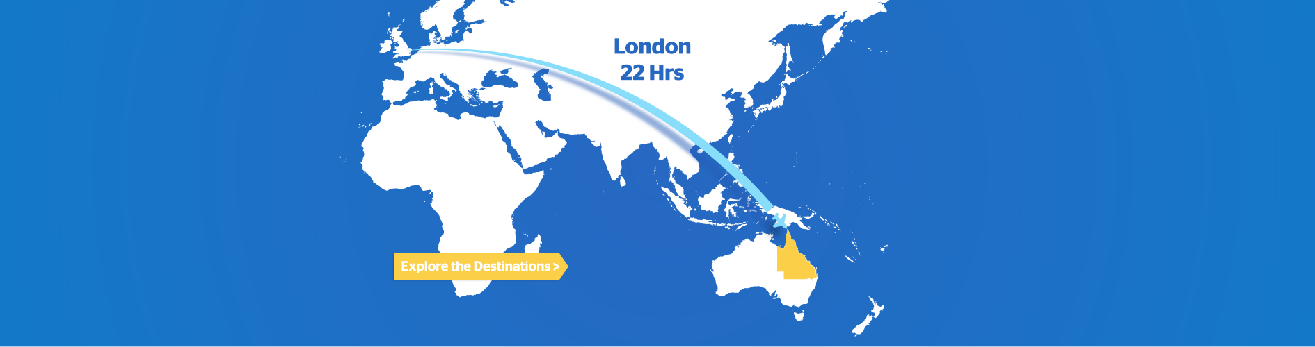 Flight time map UK to Australia
